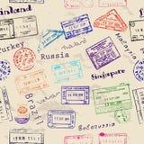 Textura inconsútil con los sellos de visa reales. Imagen de archivo