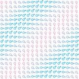 Textura inconsútil con símbolos del género y de la transición masculinos y femeninos entre ellos ilustración del vector