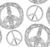 Textura inconsútil con un símbolo de paz blanco y negro y un modelo del boho en un fondo blanco libre illustration