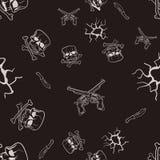 Textura inconsútil de bosquejos de cráneos y de pistolas Imagenes de archivo