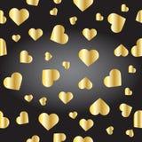 Textura inconsútil de corazones de oro fotografía de archivo