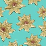 Textura inconsútil de flores de los lirios de agua en un fondo azul Foto de archivo libre de regalías