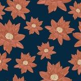 Textura inconsútil de flores de los lirios de agua en un fondo azul marino Imagen de archivo libre de regalías