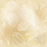 Textura inconsútil de la arena de la concha marina. Verano elegante dibujado mano  Fotos de archivo libres de regalías