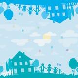 Textura inconsútil de la familia y de la casa felices del sueño Imágenes de archivo libres de regalías
