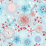 Textura inconsútil de la flor con los corazones Fotos de archivo