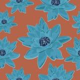Textura inconsútil de la flor del lirio de agua azul retro Foto de archivo