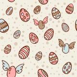 Textura inconsútil de la historieta de los huevos de Pascua Foto de archivo