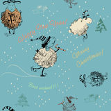 Textura inconsútil de la Navidad con las ovejas Fotografía de archivo