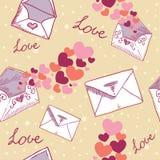 Textura inconsútil de la tarjeta del día de San Valentín de la carta de amor Foto de archivo libre de regalías