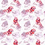 Textura inconsútil de la tarjeta del día de San Valentín de la carta de amor Fotografía de archivo libre de regalías
