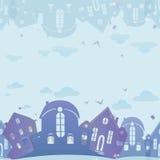 Textura inconsútil de las propiedades inmobiliarias Fondo azul con las casas Imagen de archivo