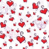 Textura inconsútil de los corazones rojos lindos Fotos de archivo