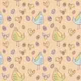 Textura inconsútil de los huevos de Pascua, de la gallina y del pollo Fotografía de archivo libre de regalías
