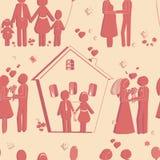 Textura inconsútil de los símbolos felices de la familia Amor y boda Fotografía de archivo