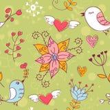 Textura inconsútil del amor con las flores y los pájaros Imagen de archivo libre de regalías