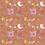 Textura inconsútil del amor con las flores y los pájaros Foto de archivo