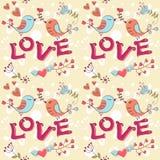 Textura inconsútil del amor con las flores y los pájaros Imágenes de archivo libres de regalías