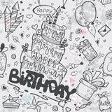 Textura inconsútil del cumpleaños con una torta de cumpleaños, globos, cohetes, personajes de dibujos animados libre illustration
