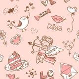 Textura inconsútil del día de tarjeta del día de San Valentín del Doodle Foto de archivo libre de regalías