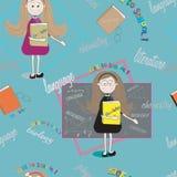 Textura inconsútil del estudiante con el profesor y los libros De nuevo a escuela Fotografía de archivo libre de regalías
