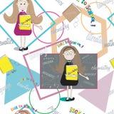Textura inconsútil del estudiante con el profesor y los libros De nuevo a escuela Imagen de archivo