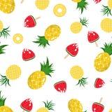 Textura inconsútil del fondo del modelo de la piña y de la sandía, fruta jugosa en el día de fiesta de la estación de verano, est stock de ilustración