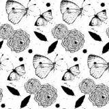 Textura inconsútil del grunge con las rosas y las mariposas Foto de archivo
