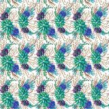 Textura inconsútil del modelo de la acuarela - los succulents plantan el clip art Fotografía de archivo