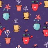 Textura inconsútil del modelo de las plantas en conserva coloridas brillantes de las flores el garabato deja corazones en fondo p stock de ilustración