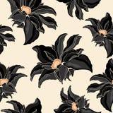 Textura inconsútil del negro de las flores Fotografía de archivo
