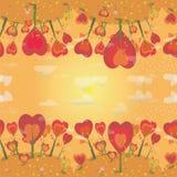 Textura inconsútil del paisaje del otoño con los árboles anaranjados y las hojas que caen Fondo Fotos de archivo libres de regalías