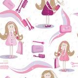 Textura inconsútil del peine, jabón, dientes del cepillo y con la muchacha linda Imágenes de archivo libres de regalías