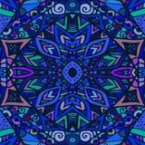 Textura inconsútil del vector Azul sin fin del fondo Modelo inconsútil étnico Modelo brillante Foto de archivo
