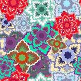 Textura inconsútil del vector con la flor de los eslavos patte inconsútil de Rusia Fotografía de archivo libre de regalías