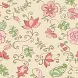 Textura inconsútil del vector con las flores y las hojas Foto de archivo libre de regalías