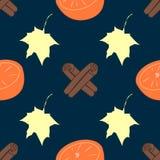 Textura inconsútil del vector con los palillos de la naranja y de canela en fondo rayado delicado Fotos de archivo