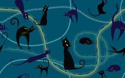 Textura inconsútil del vector de los gatos de la noche Imágenes de archivo libres de regalías