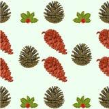 Textura inconsútil del vector del tema de la Navidad de los conos y de las bayas del pino Fotos de archivo libres de regalías