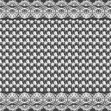 Textura inconsútil del vector Modelo blanco y negro del cordón para el diseño y la moda Adornos de las flores y de las hojas ilustración del vector