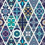 Textura inconsútil del vector Modelo mega hermoso del remiendo para el diseño y moda con los elementos decorativos Imagen de archivo
