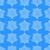 Textura inconsútil del vector Tortuga abstracta del esquema del garabato Imagenes de archivo
