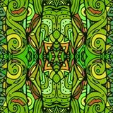 Textura inconsútil del vector Verde sin fin del fondo Modelo inconsútil étnico Modelo brillante Plantilla del verano Fotografía de archivo