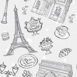 Textura inconsútil en esquema negro con la imagen de la torre Eiffel, de Francia, y de otros artículos Fotografía de archivo libre de regalías