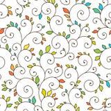 Textura inconsútil - espirales y hojas Fotografía de archivo