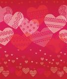 Textura inconsútil horizontal con los corazones Imagen de archivo libre de regalías