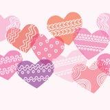 Textura inconsútil horizontal con los corazones Foto de archivo libre de regalías