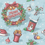 Textura inconsútil por días de fiesta de la Navidad y del Año Nuevo con la imagen de juguetes, guirnalda, copos de nieve del calc Foto de archivo libre de regalías