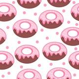 Textura inconsútil rosada del esmalte y del polvo del buñuelo Fondo del buñuelo Bebé, niños papel pintado y materias textiles Ilu stock de ilustración