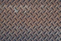Textura industrial suja oxidada do fundo da placa do verificador com Ru Imagem de Stock